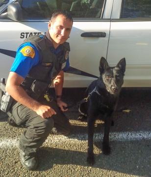 Trooper Shaun Casavant and K9 Maxo